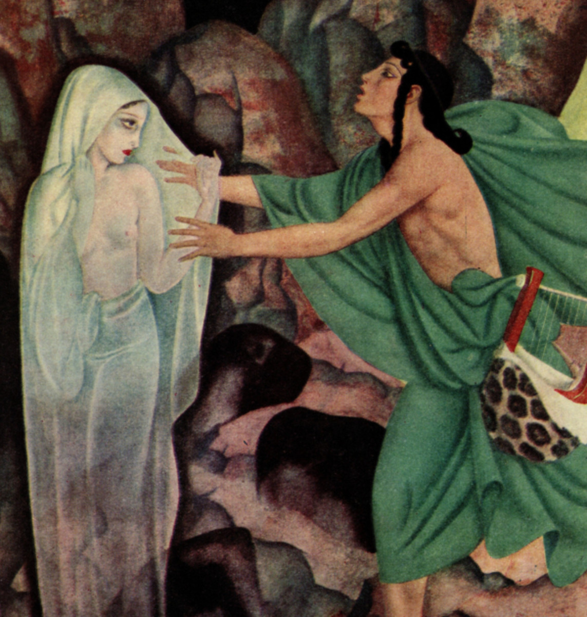 "Here we show a portion of 'Orpheus and Eurydice' - it is from the suite by Edmund Dulac published in ""Gods and Mortals in Love"" (1935)."