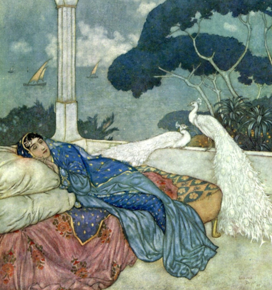 "Here we show a portion of the illustration associated with the 72nd Quatrain - it is from the suite by Edmund Dulac published in ""Rubaiyat of Omar Khayyam"" (1909)."
