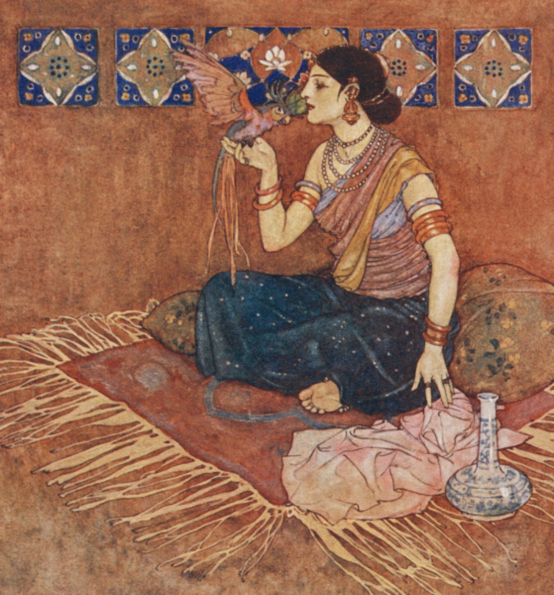 """Here we show a portion of 'Pirouze, the fairest and most honourably born' - it is from the suite by Edmund Dulac published in """"Stories from the Arabian Nights"""" (1907)."""