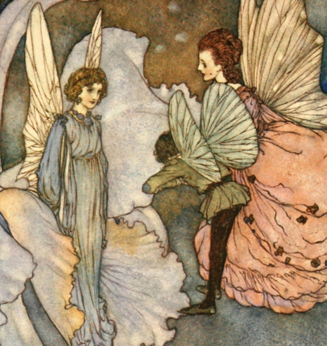 "Here we show a portion of 'Princess Orchid's Party' - it is from the suite by Edmund Dulac published in ""Fairies I Have Met"" (1907)."