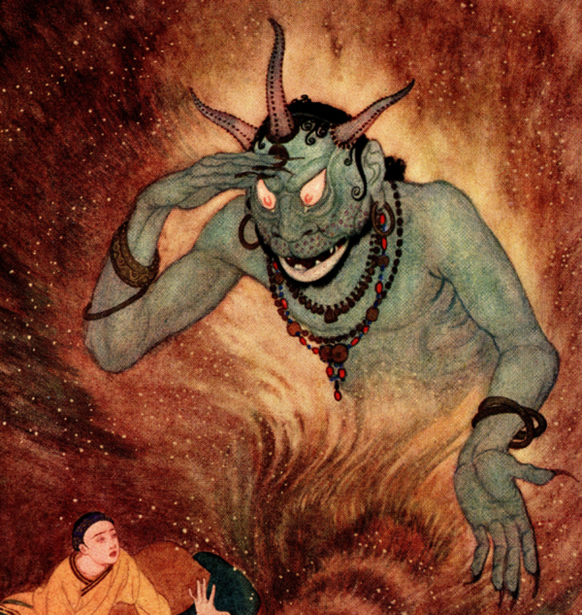 "Here we show a portion of 'Aladdin and the Efrite' - it is from the suite by Edmund Dulac published in ""Sindbad the Sailor and Other Stories from The Arabian Nights"" (1914)."