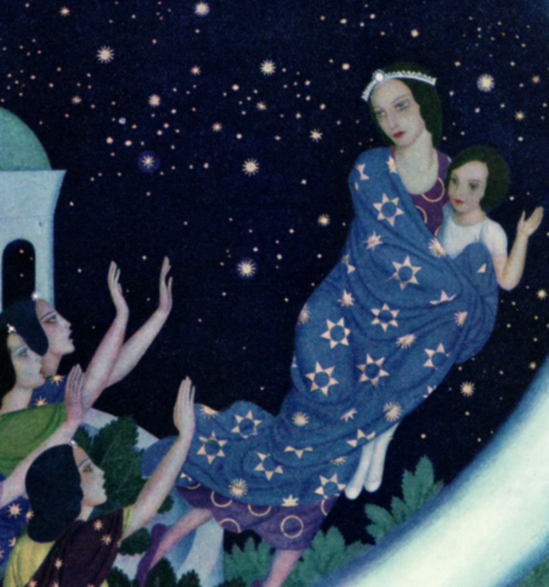 "Here we show a portion of '""Good-bye, Astrella! Good-bye, Perdita!"" they called' - it is from the suite by Edmund Dulac published in ""The Daughters of the Stars"" (1939)."