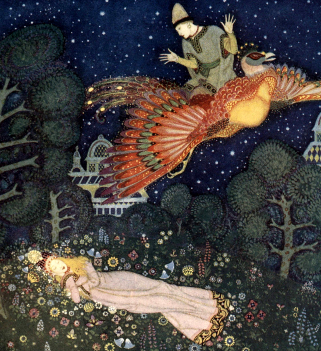 "Here we show a portion of 'There he found the Princess asleep ...' - it is from the suite by Edmund Dulac published in ""Edmund Dulac's Fairy-Book"" (1916)."