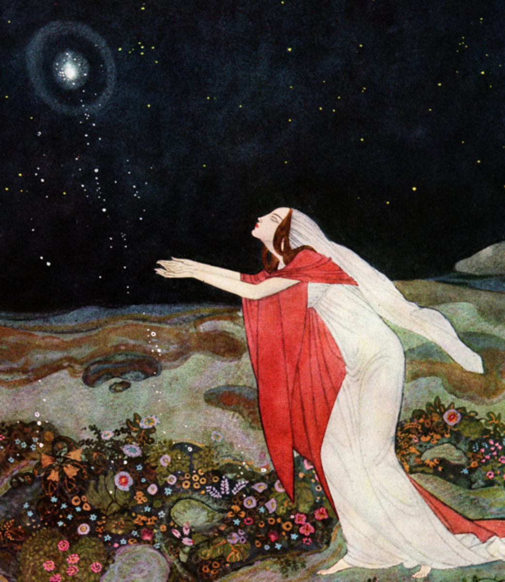 "Here we show a portion of 'The light she had thought to extinguish had escaped from her dying hands  ...' - it is from the suite by Edmund Dulac published in ""The Stealers of the Light"" (1916)."