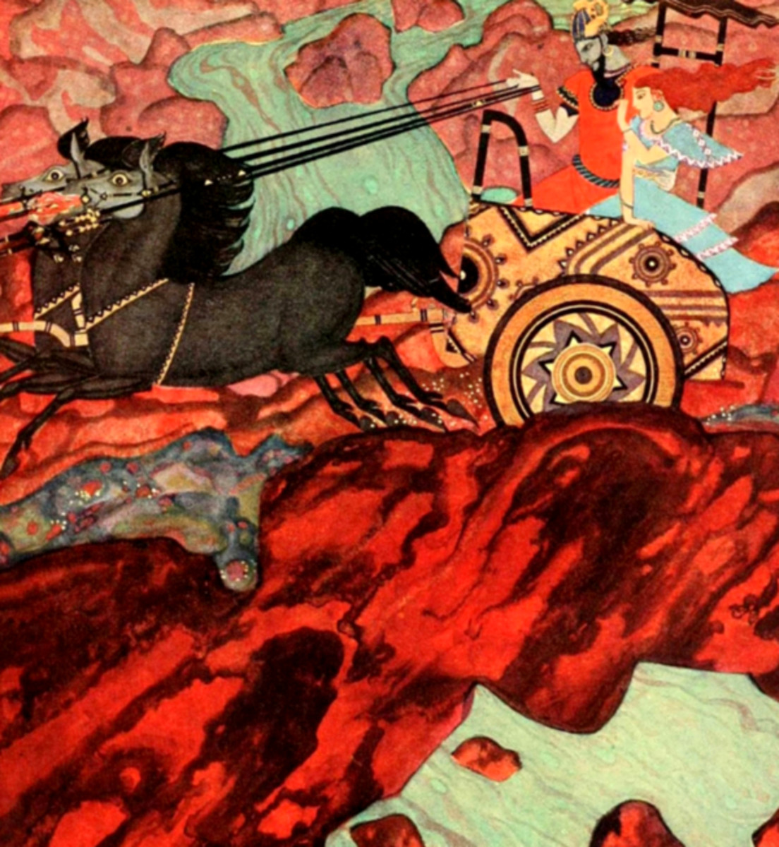 "Here we show a portion of 'On went the chariot ...' - it is from the suite by Edmund Dulac published in ""Tanglewood Tales"" (1918)."