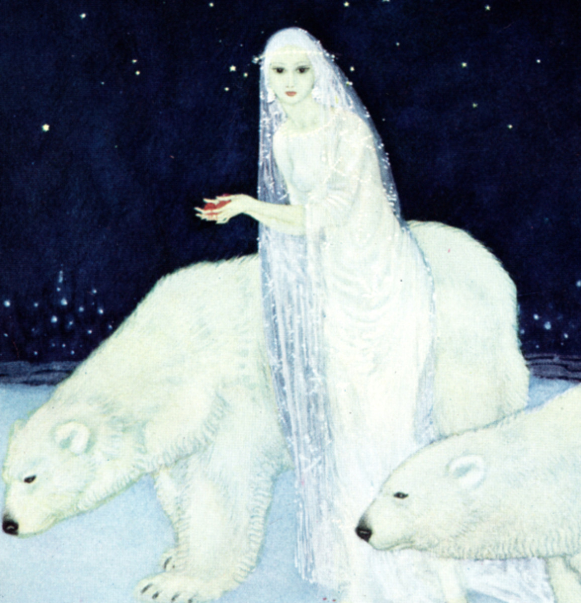 "Here we show a portion of 'Everything about her was white, glistening and shining' - it is from the suite by Edmund Dulac published in ""Dreamer of Dreams"" (1915)."