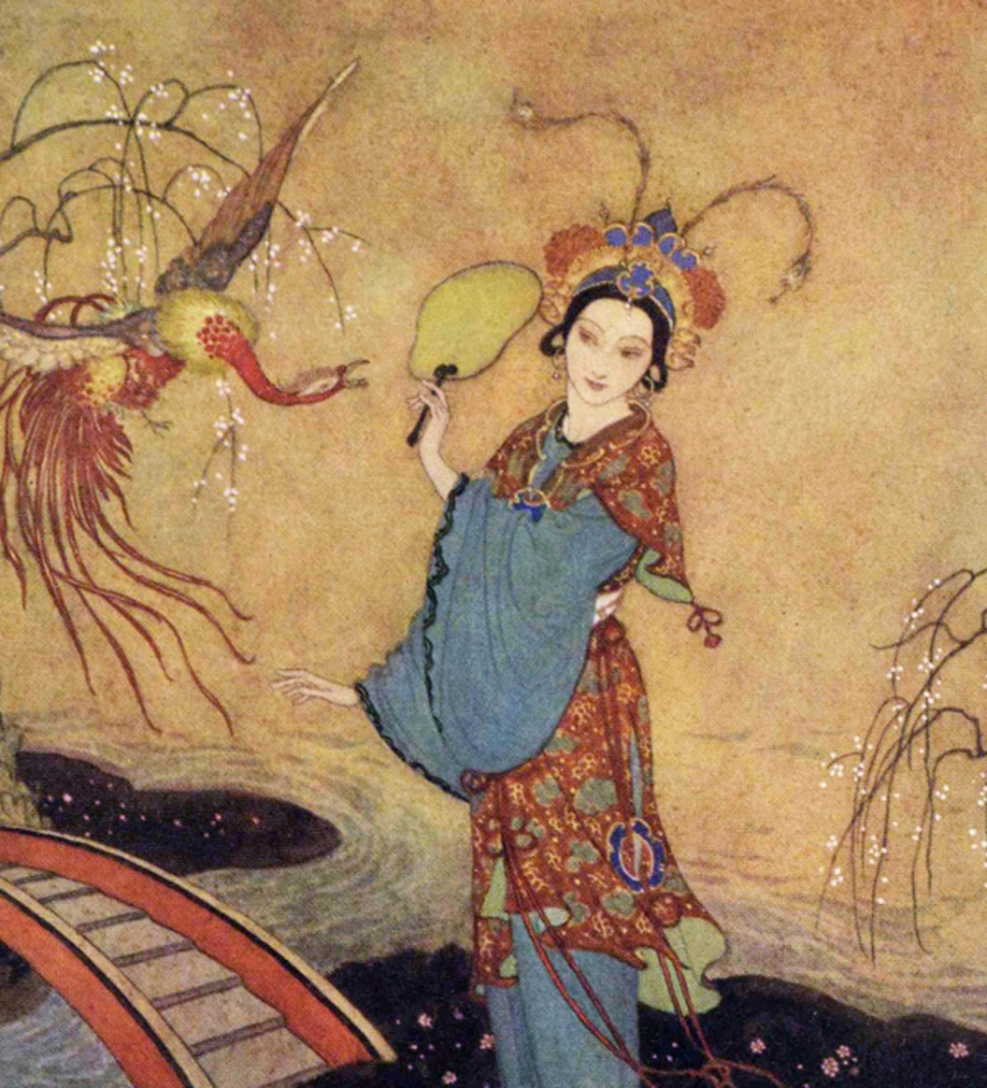 "Here we show a portion of 'Princess Badoura' - it is from the suite by Edmund Dulac published in ""Princess Badoura"" (1913)."