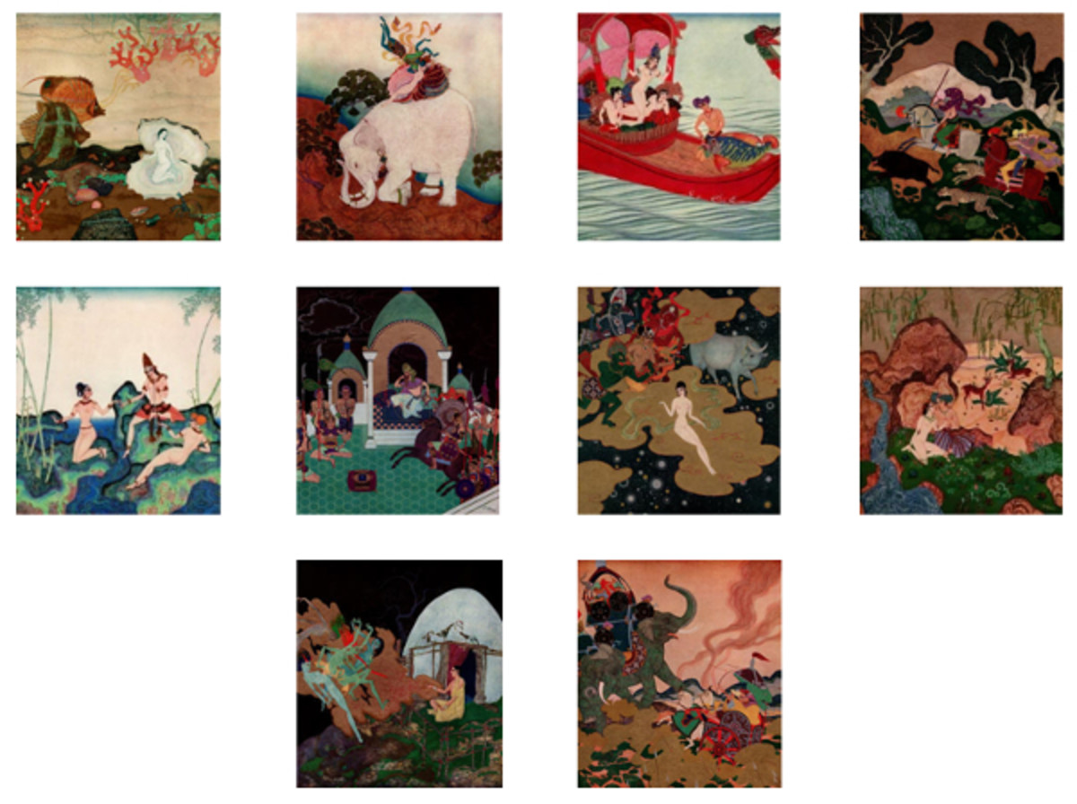 "Here we show each of Edmund Dulac's color designs published in ""The Kingdom of the Pearl"" (1920)."