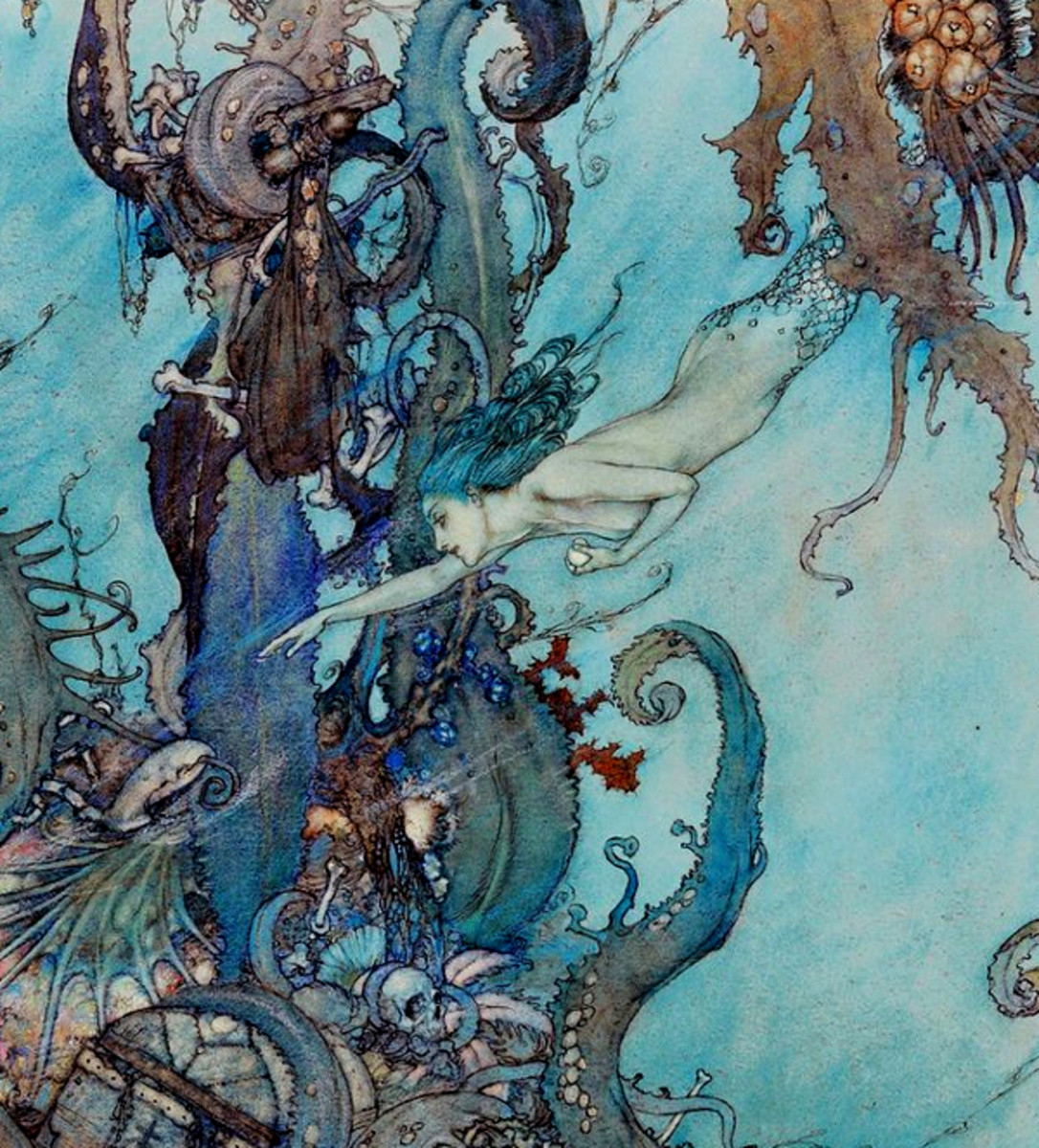"Here we show a portion of an illustration associated with 'The Little Mermaid' - it is from the suite by Edmund Dulac published in ""Stories from Hans Anderson"" (1911)."