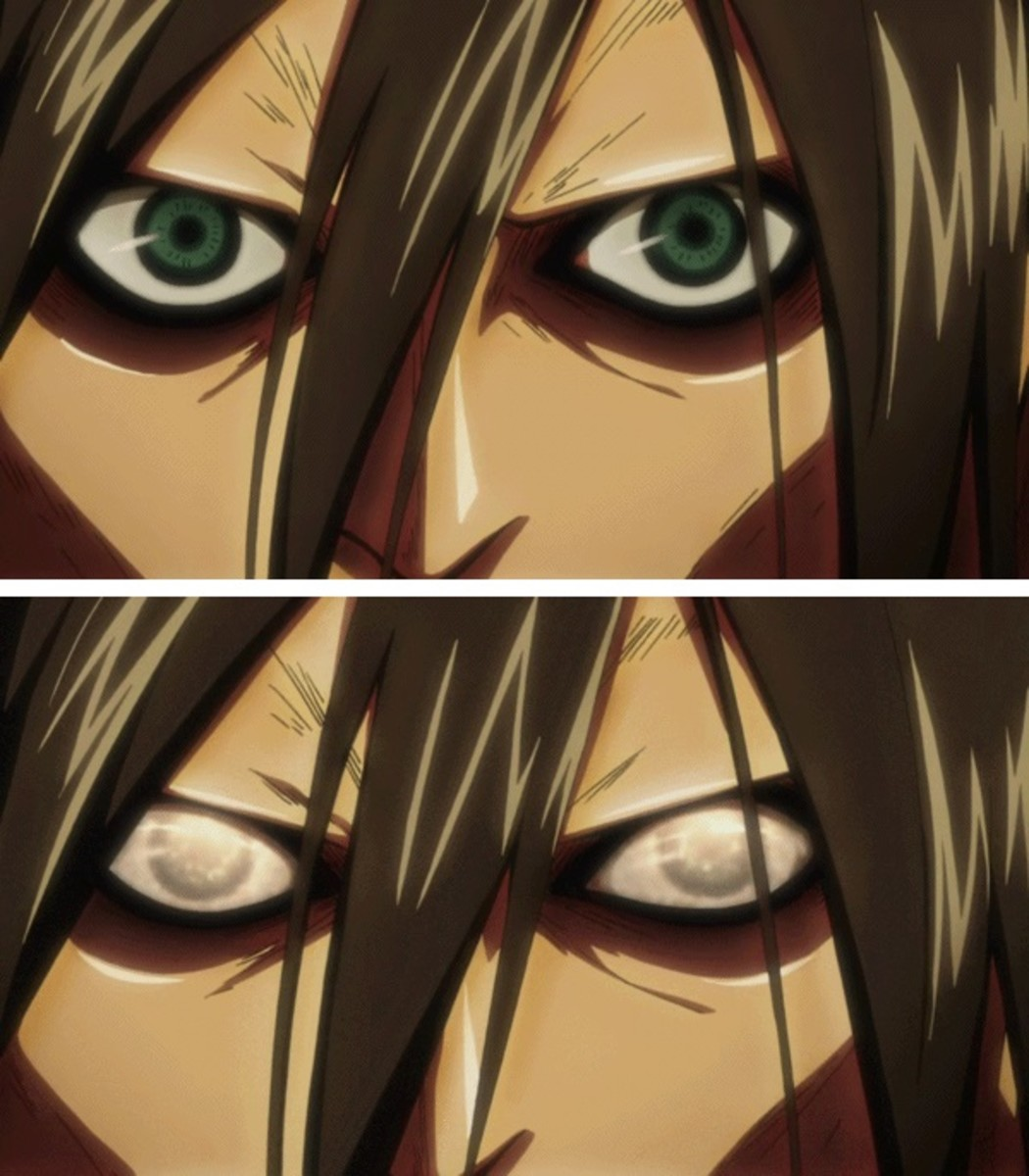 The nictitating membrane in Eren's Titan form.