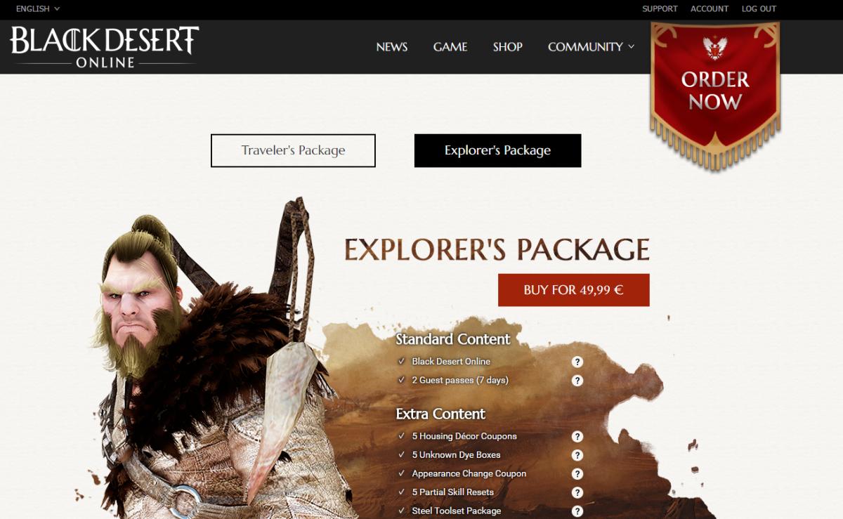 Black Desert Online Store Page