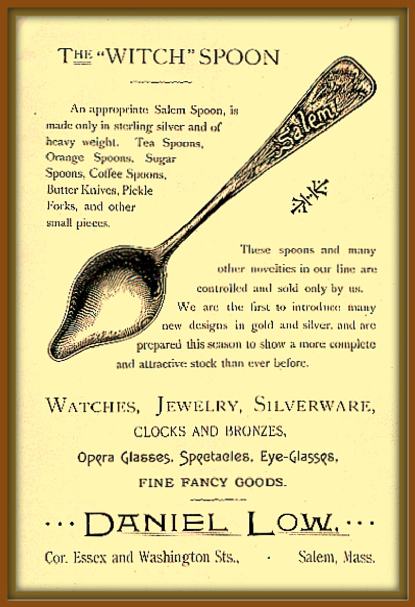 In 1890 by a commemorative spoon called the Salem Witch Spoon. This remarkable spoon was manufactured by Mr. Daniel Low, this Salem Witch spoon set off a national rage for souvenir-spoon collecting that did not slow down until the outbreak of WWI