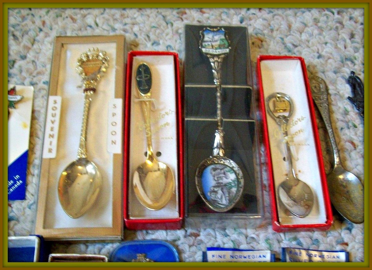 Souvenir Spoons come in gold, silver, plated copper & bronze, and even pure pewter. Each one has a story to tell about some far off land, or exciting destination.  Most are works of art.