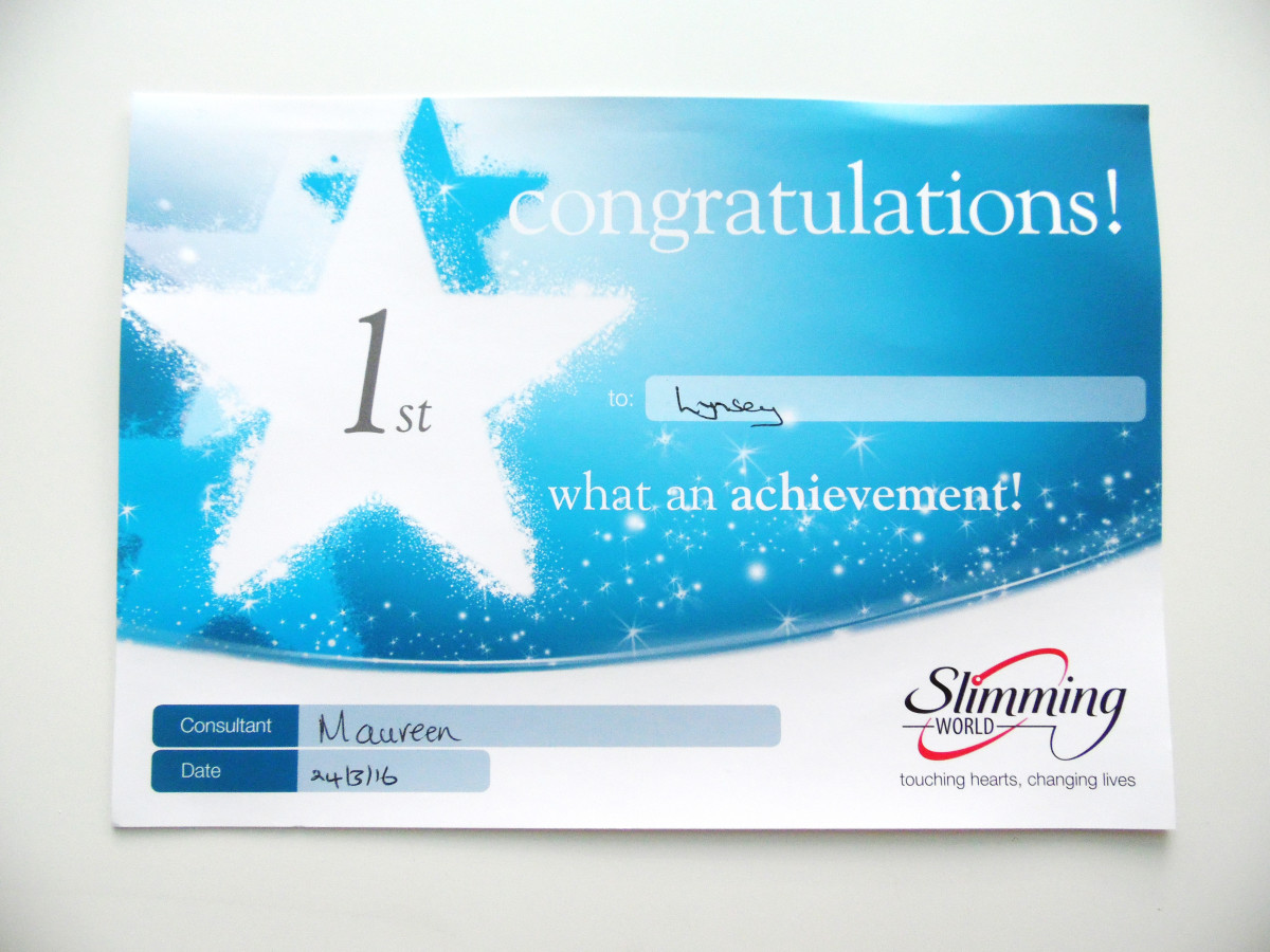 My Weight Loss Certificate!