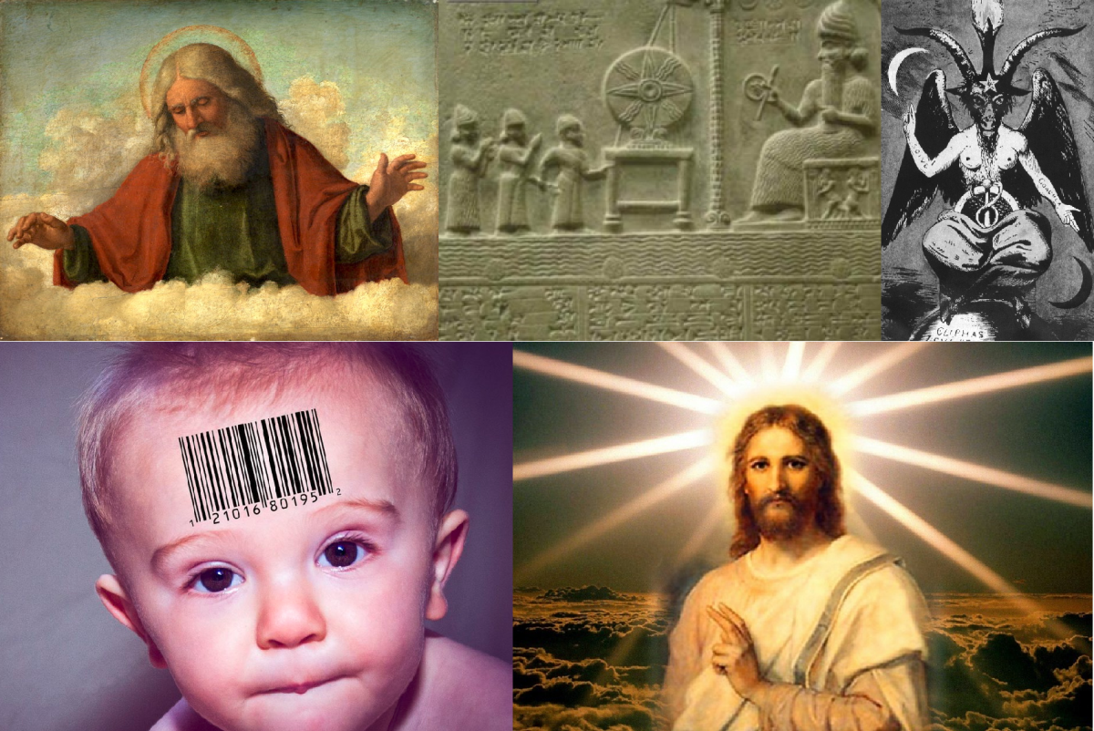 Clockwise: God, an Anunnaki upon his throne, the Demiurge, the Christ consciousness, and a genetic modified human specie.