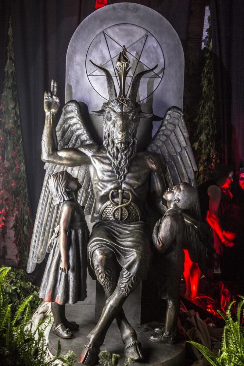 The Baphomet Statue is 9 ft. tall and weighs a little over one ton