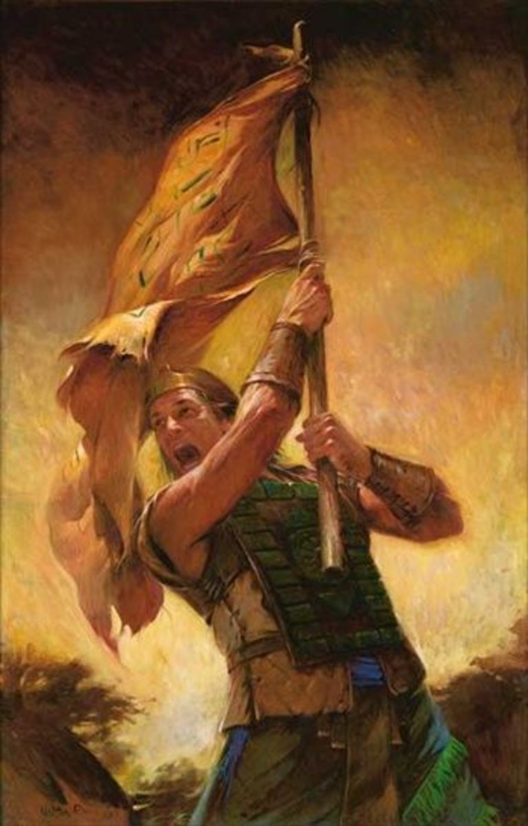 Rendering of Captain Moroni bearing the Title of Liberty