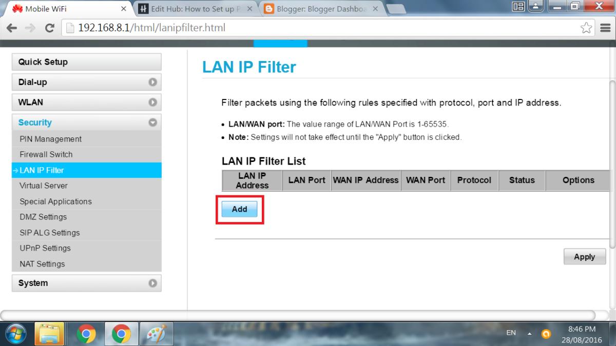 Select the LAN IP filter.