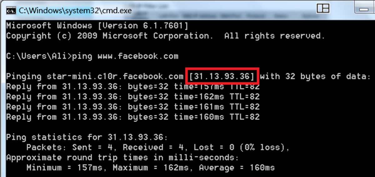 Ping a site from command prompt to find its IP address.