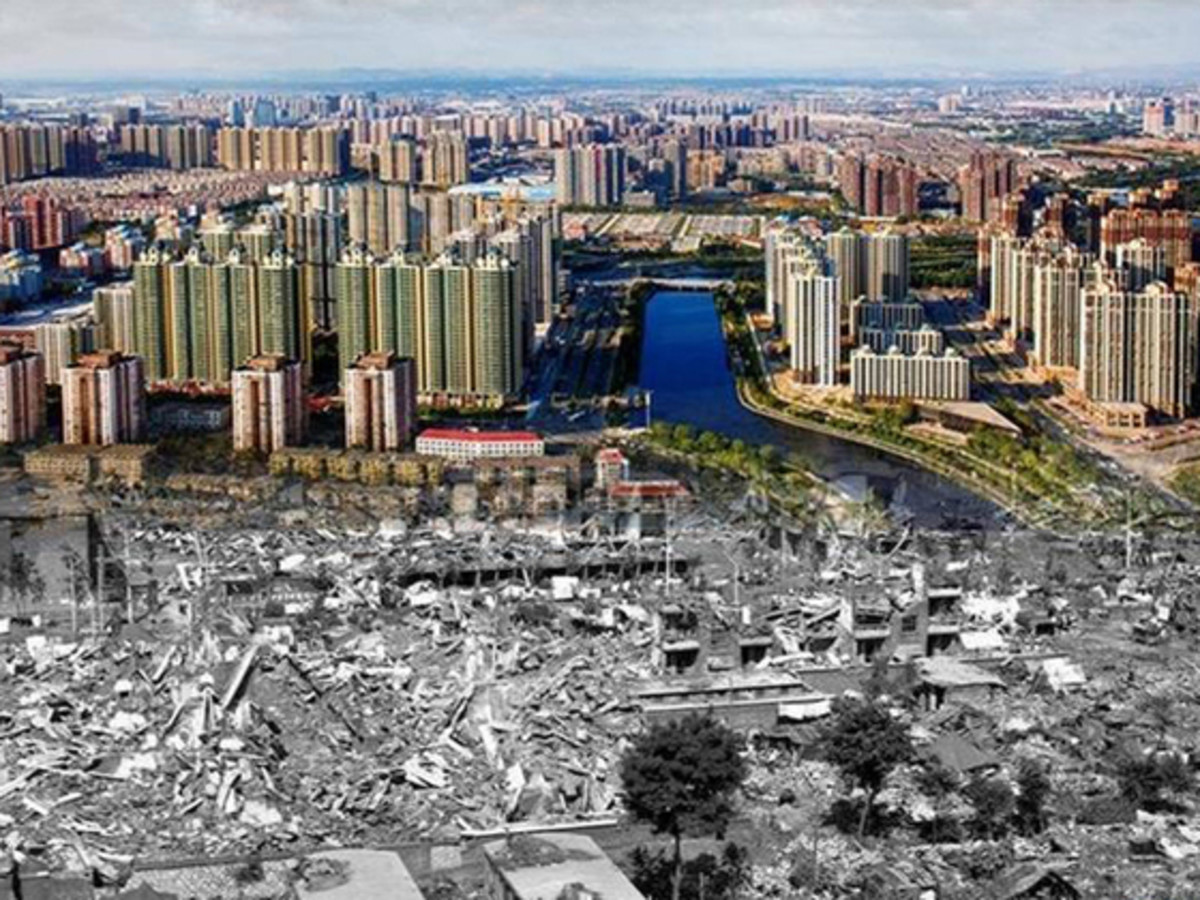 This image stitches together Tangshan's modern skyline with the devastation wreaked by the 1976 earthquake (Image from Baike)
