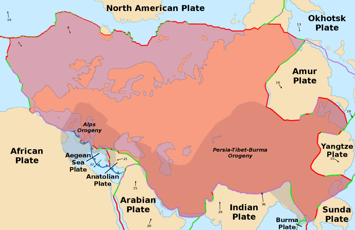 The shaded area is the Eurasian plate