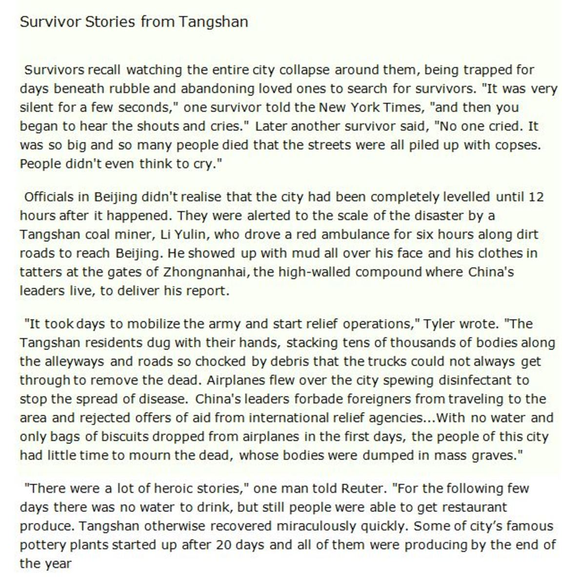 Survivor Stories from Tangshan
