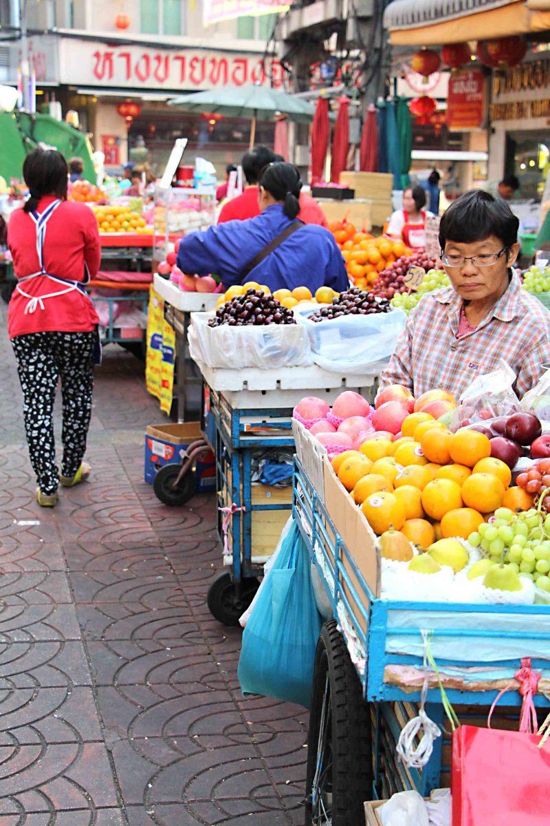 Street stalls selling fruit in Bangkok