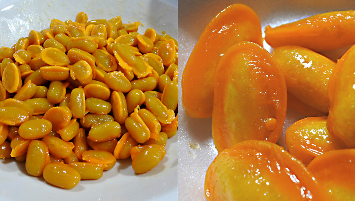 'Med Khanoon' - yellow mung beans are used in Thai flavouring, but can also be eaten as a dessert, blended with sugar, coconut milk and egg yolk and syrup. The finished sweet is shown in close-up on the right