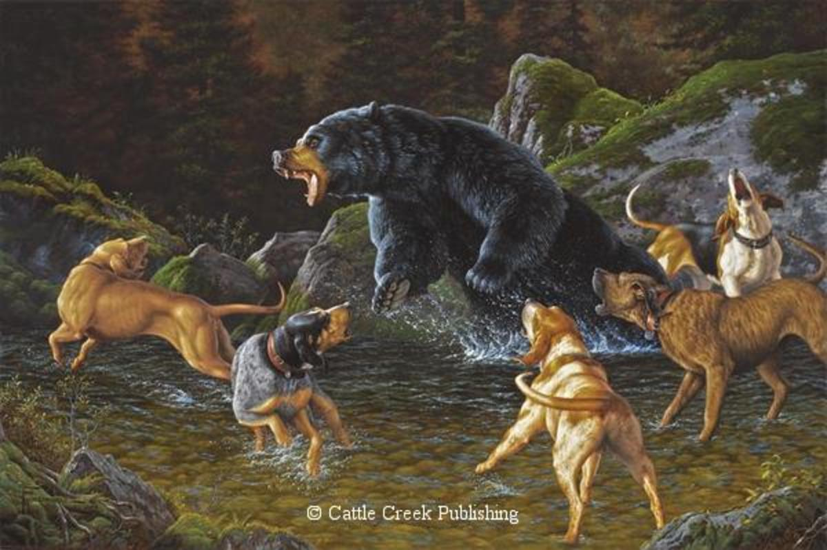 """Troubled Waters"" Bear and Dogs by Tom Mansanarez - Artist Proof Edition"