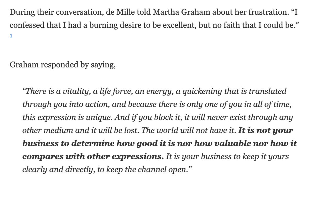 Martha Graham words to Agnes de Mille