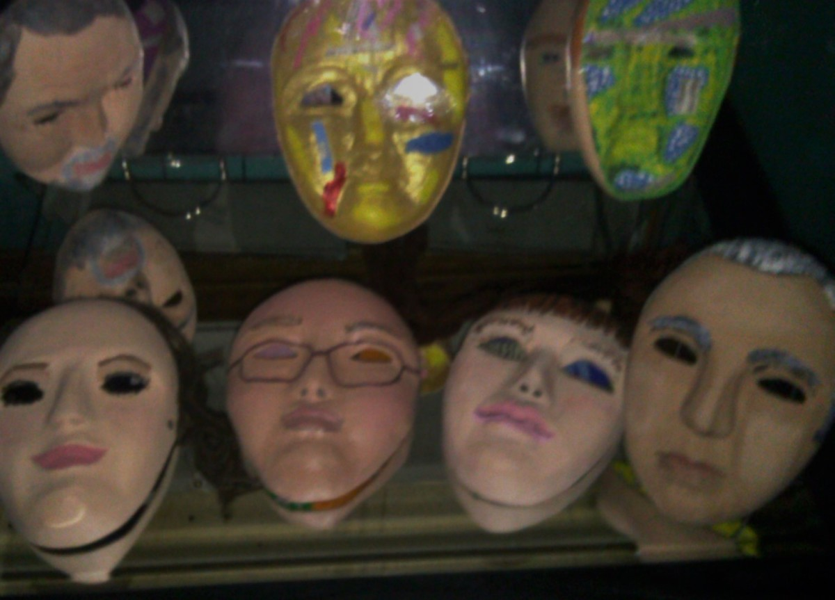 A few of the many masks created by patients that lived in the Trans Allegheny Lunatic Asylum.