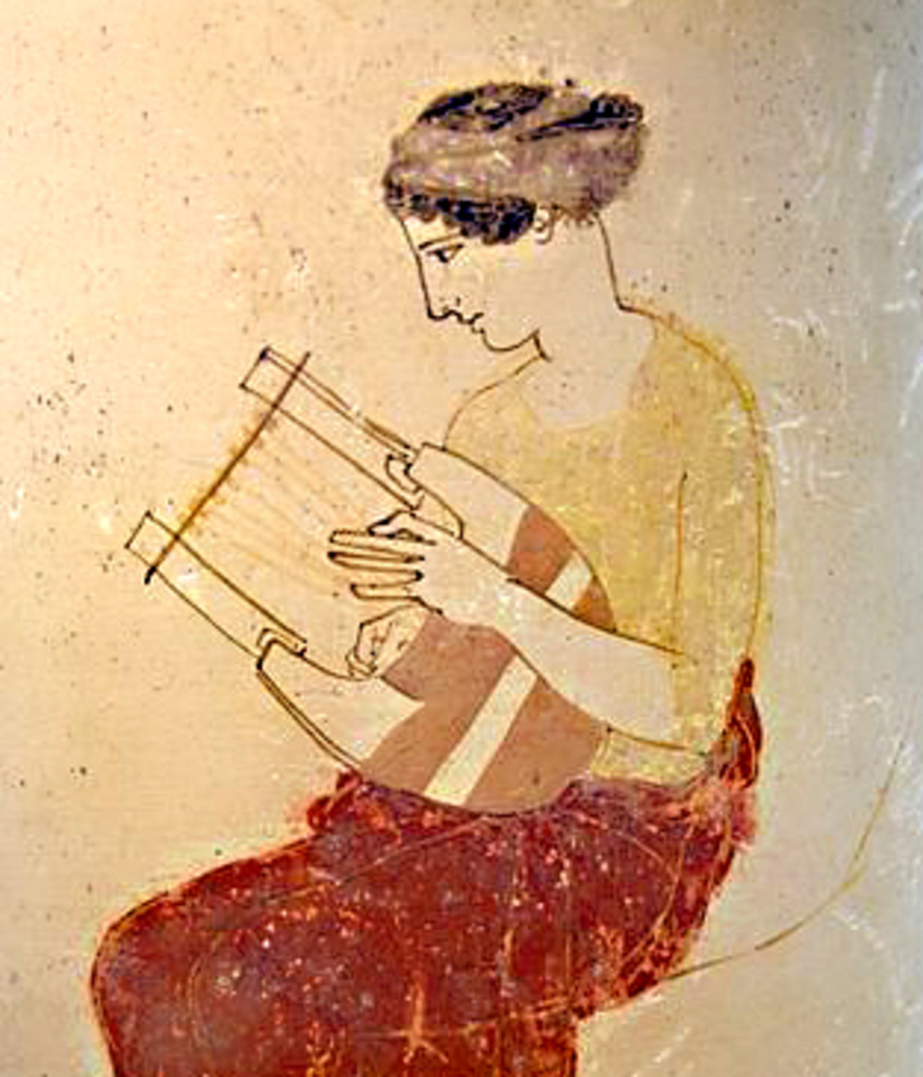 A Greek muse playing a lyre - from a vase dated to about 430 BCE
