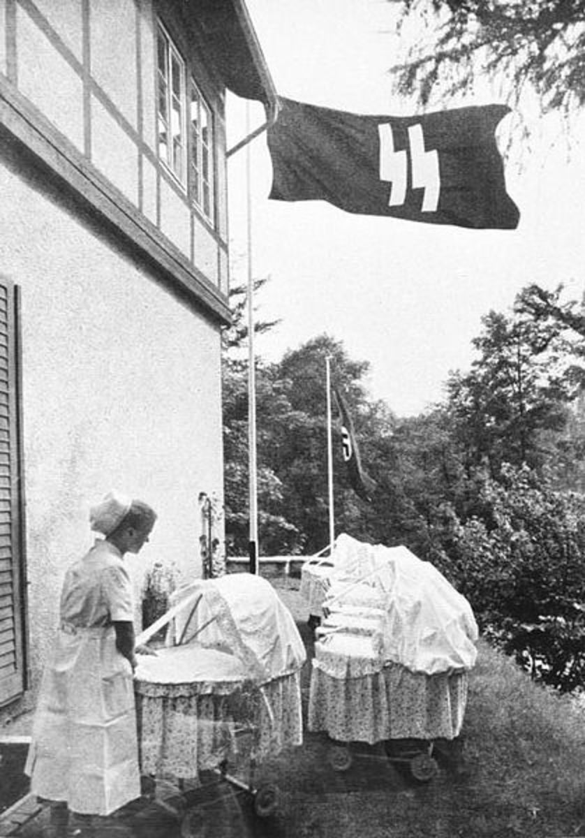 "A Lebensborn birth house in Nazi Germany. Created with intention of raising the birth rate of ""Aryan"" children from extramarital relations of ""racially pure and healthy"" parents"