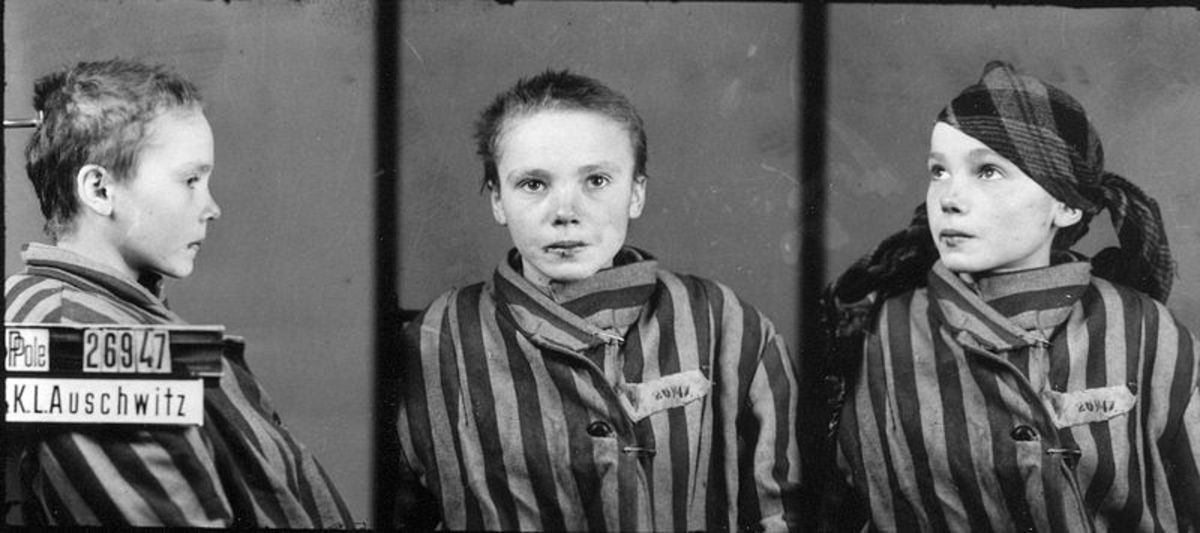 Czesława Kwoka, child victim of Auschwitz, as shown in her prisoner identification photo taken in 1942 or 1943