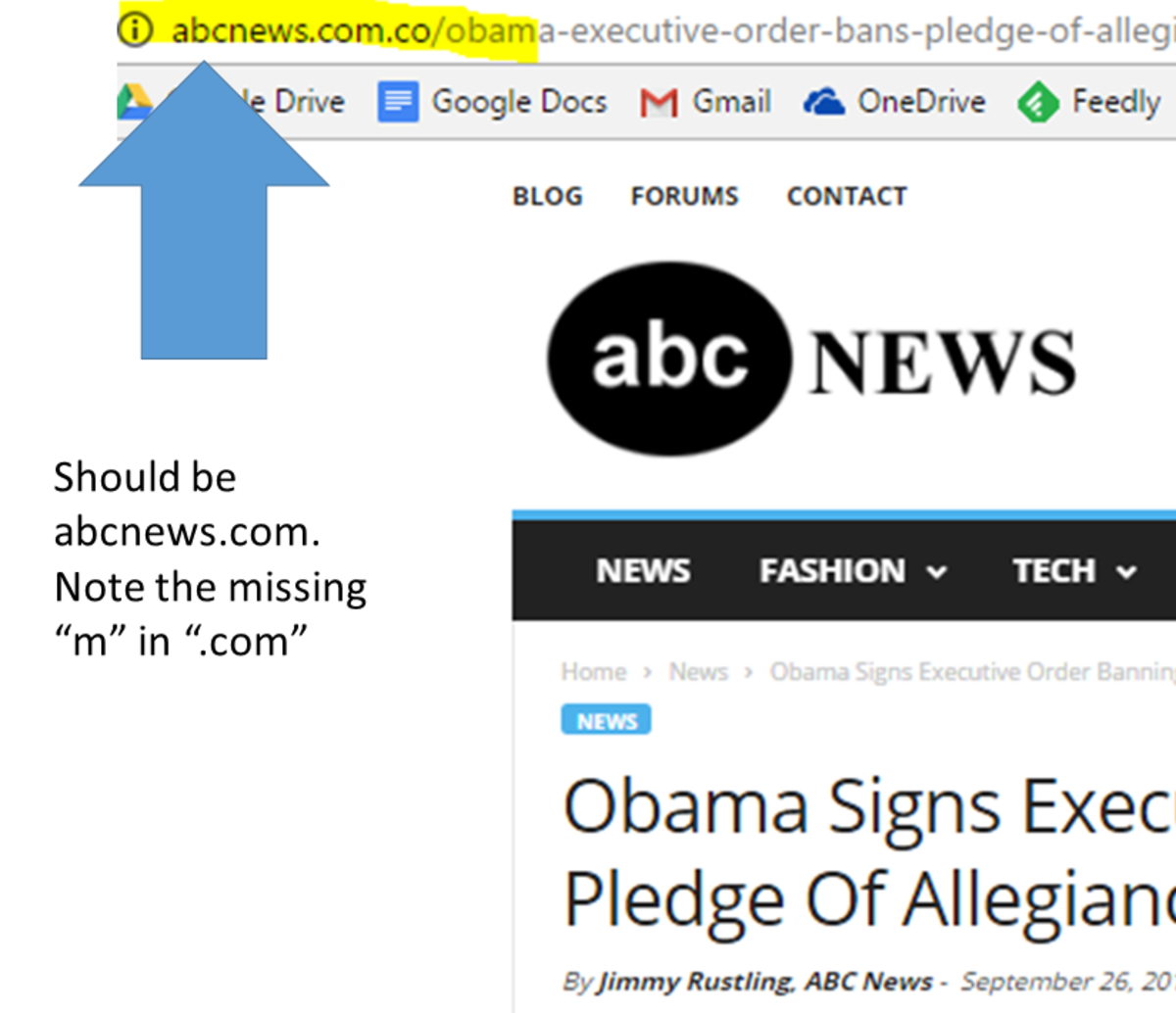 "Graphic showing extra "".co"" after ABC News website address which is not in official site address."