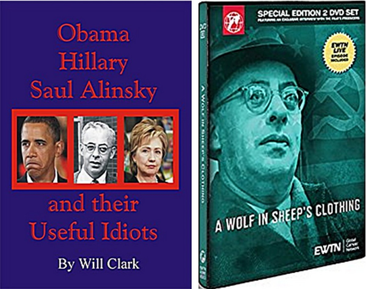 "Left: book cover with the amoral Alinsky and two of his biggest best known fans; Right: DVD about Alinsky' ""A Wolf in Sheep's Clothing."" Neither treats Alinsky kindly."