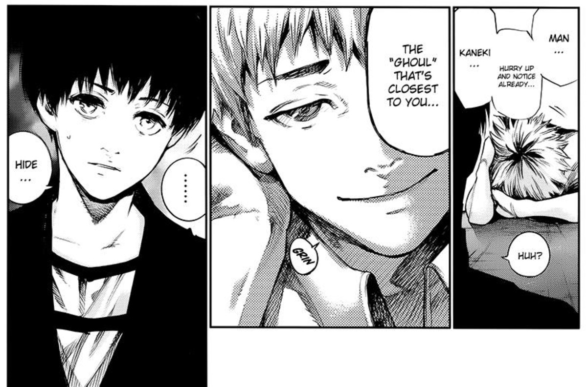 "Hide telling Kaneki to notice the ""ghoul"" closest to him."