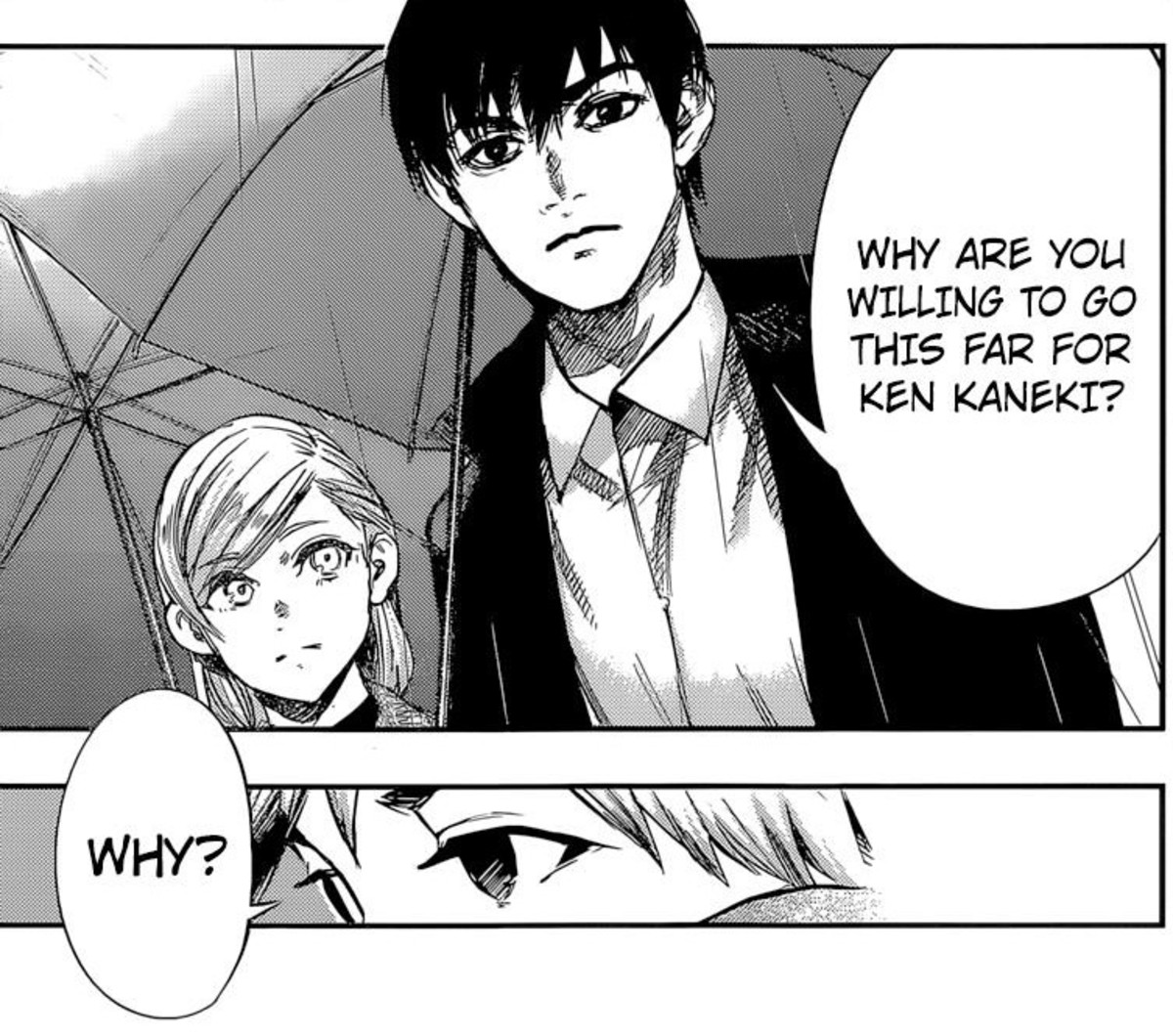 Amon asks Hide why he is going so far for Kaneki.