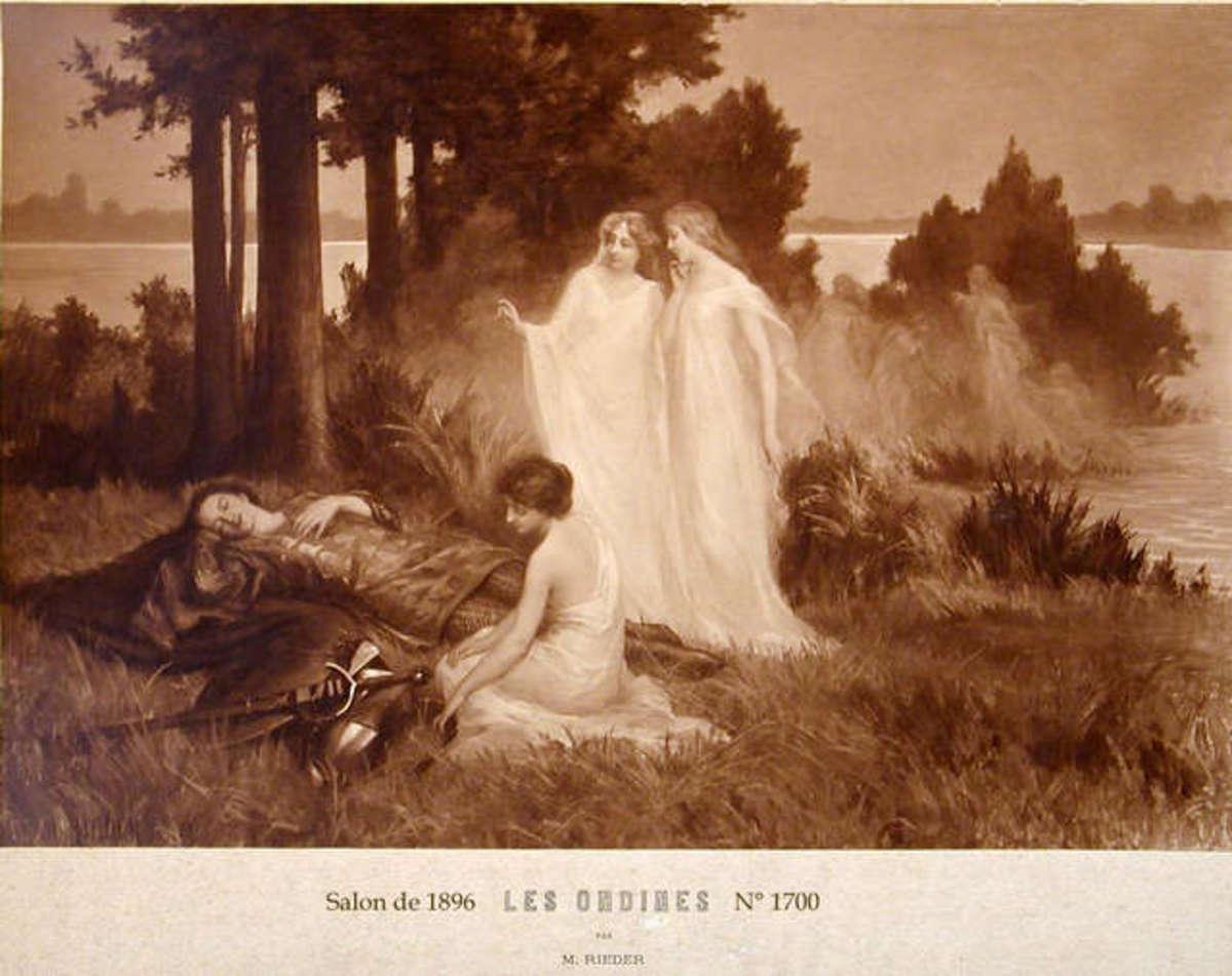 Les Ondines, vintage post card by Marcel Rieder
