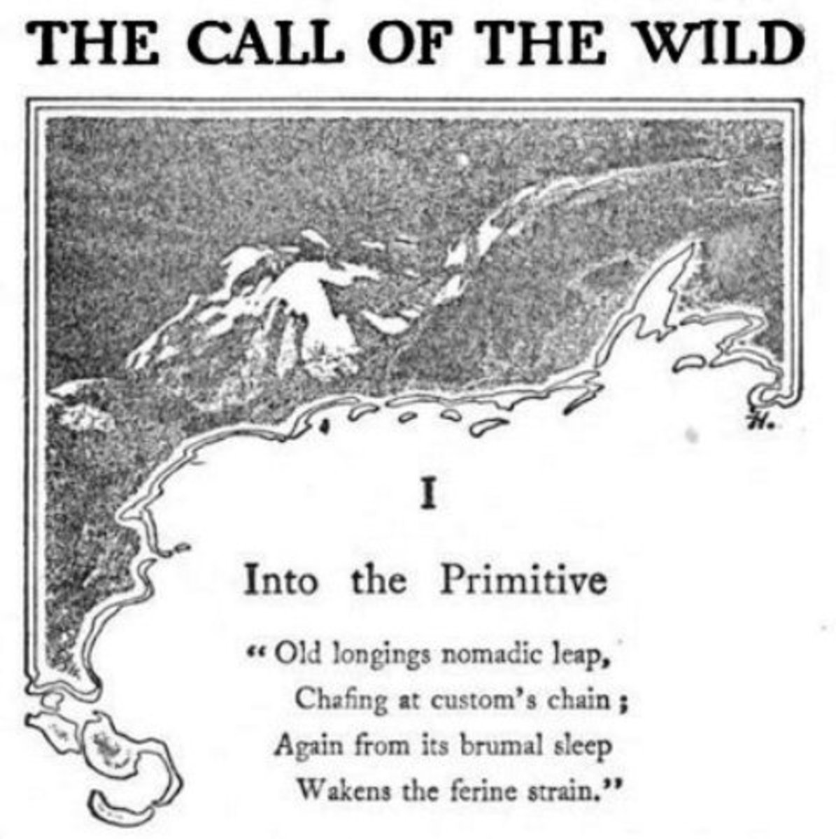 Frontispiece of Jack London's book, 'The Call Of The Wild', a moving tale of a dog taken out of familiar surroundings, that is eventually accepted by a wolf-pack in the far north