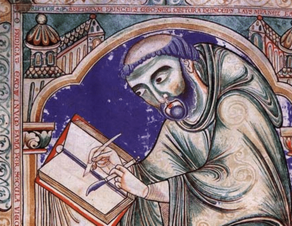A scribe sets down the year's events. Entries were made at five religious houses across the  several kingdoms that became England by Aethelstan's reign (mid-late 10th Century), relating events fraught with the difficulty of uniting disparate peoples
