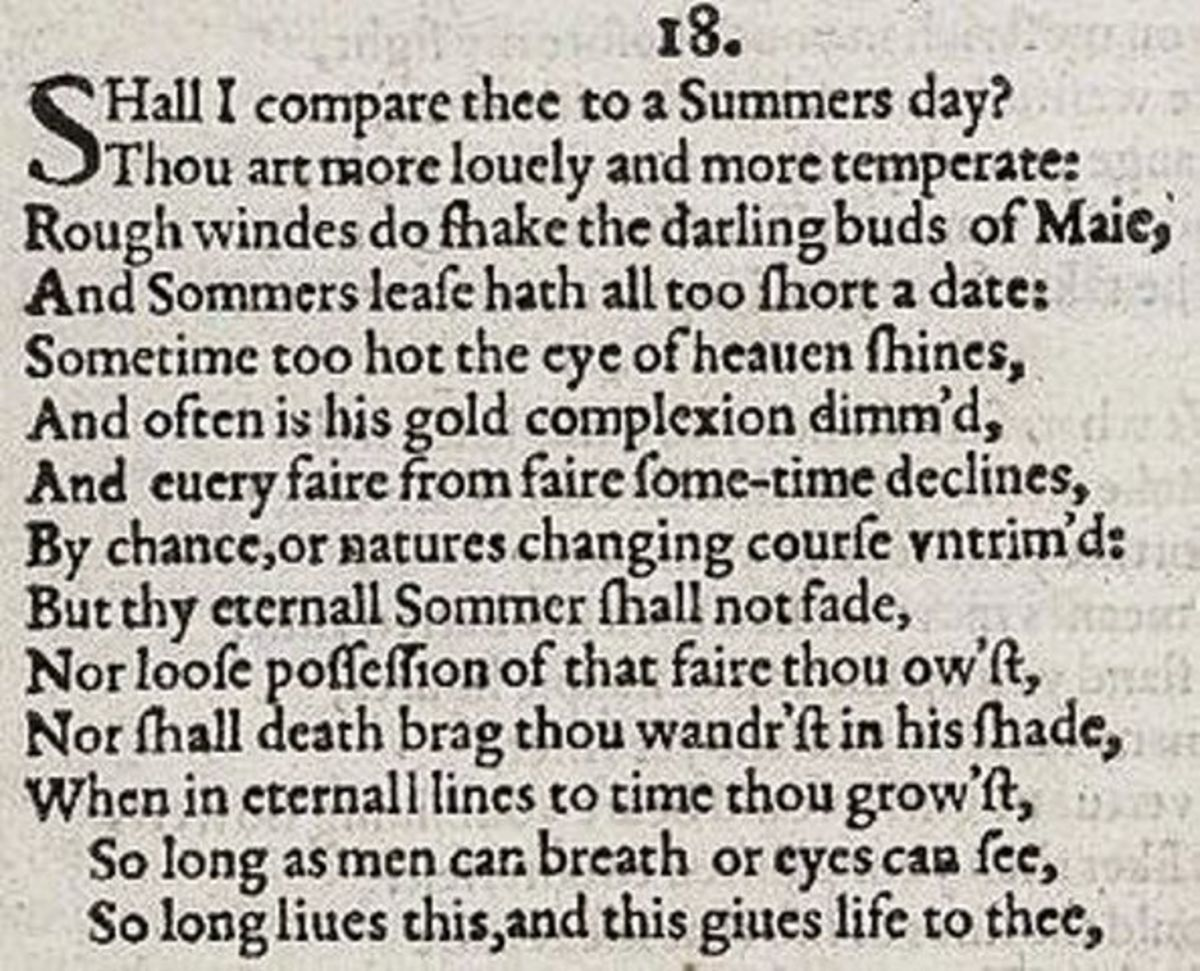 Shakespeare's sonnet of 1609, the next stage in the development of Middle English - progress can be seen, to a more recognisable modern form