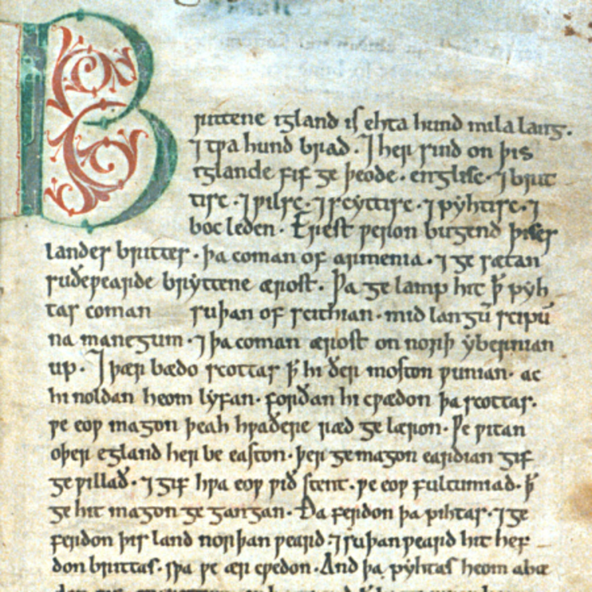 The introductory page to the Anglo-Saxon Chronicle, the grandfather of English writing and thinking