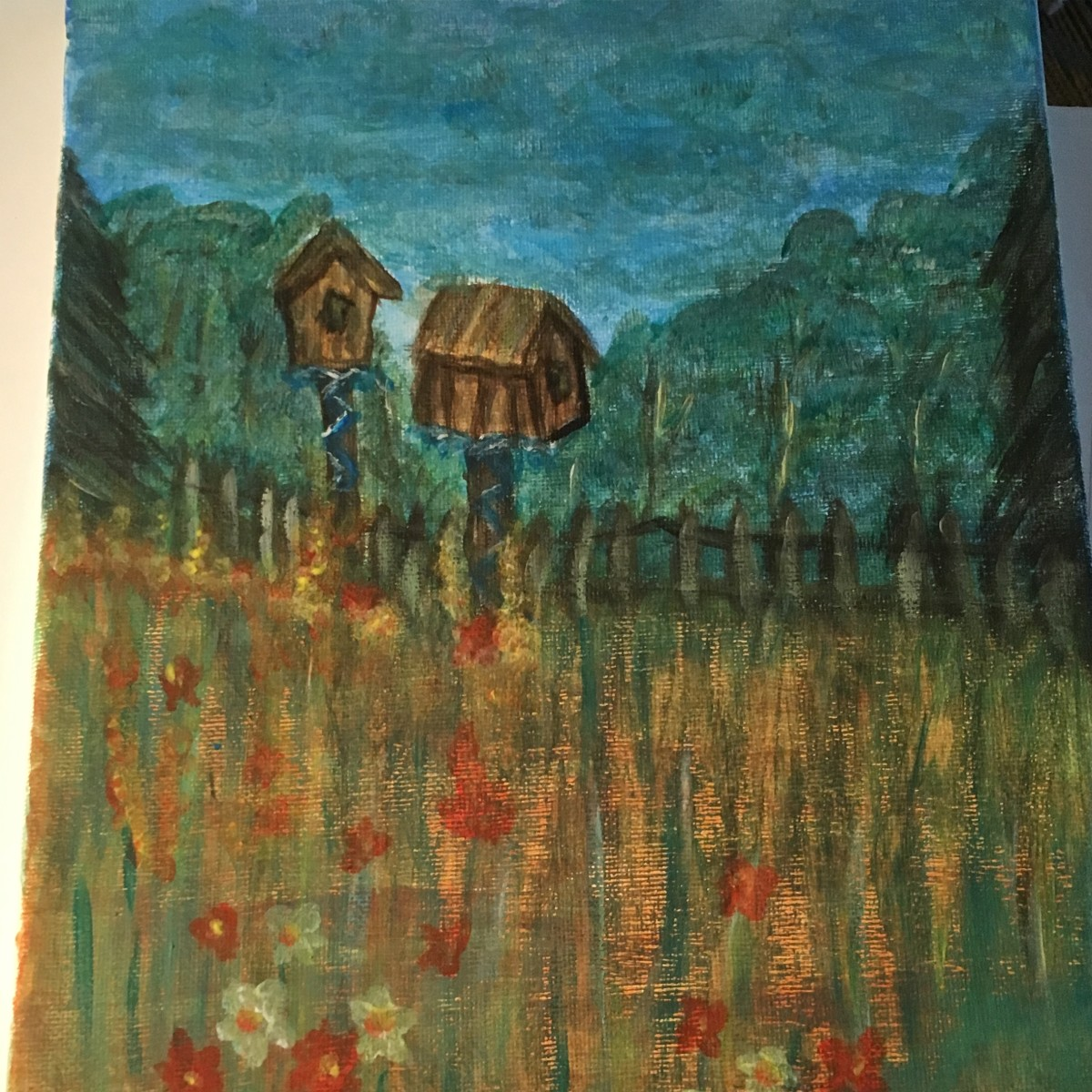 Ladies paint night. No Acrylic medium used.