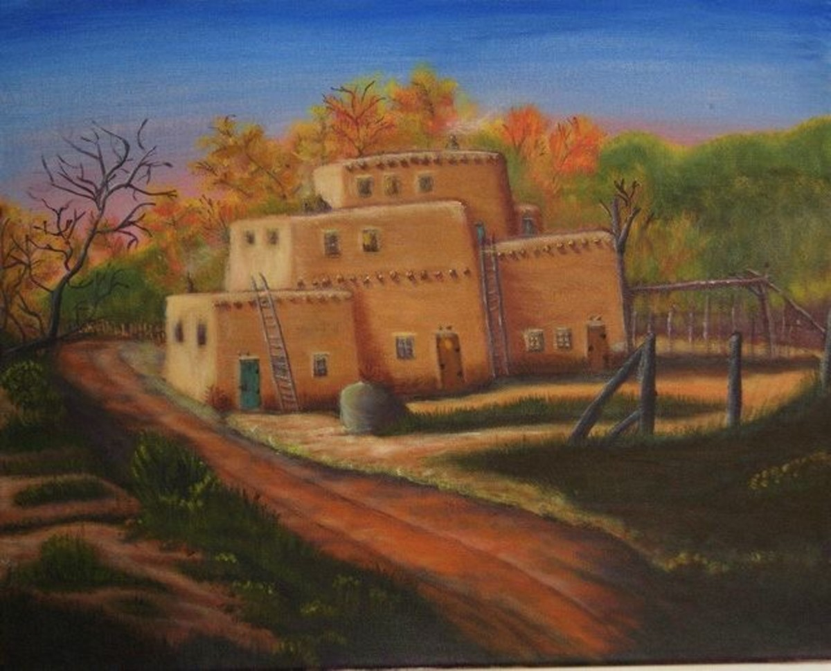 Jerry Yarnell style of painting and adobe home. With Acrylic medium.
