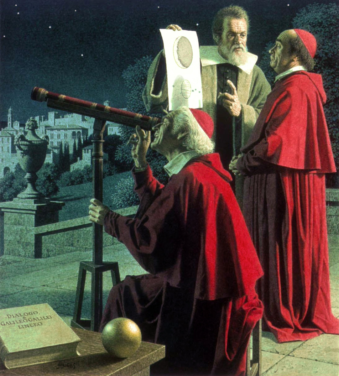 Galileo Galilei looking through his telescope with a church representative pulling a face because he is being shown the earth going round the sun.