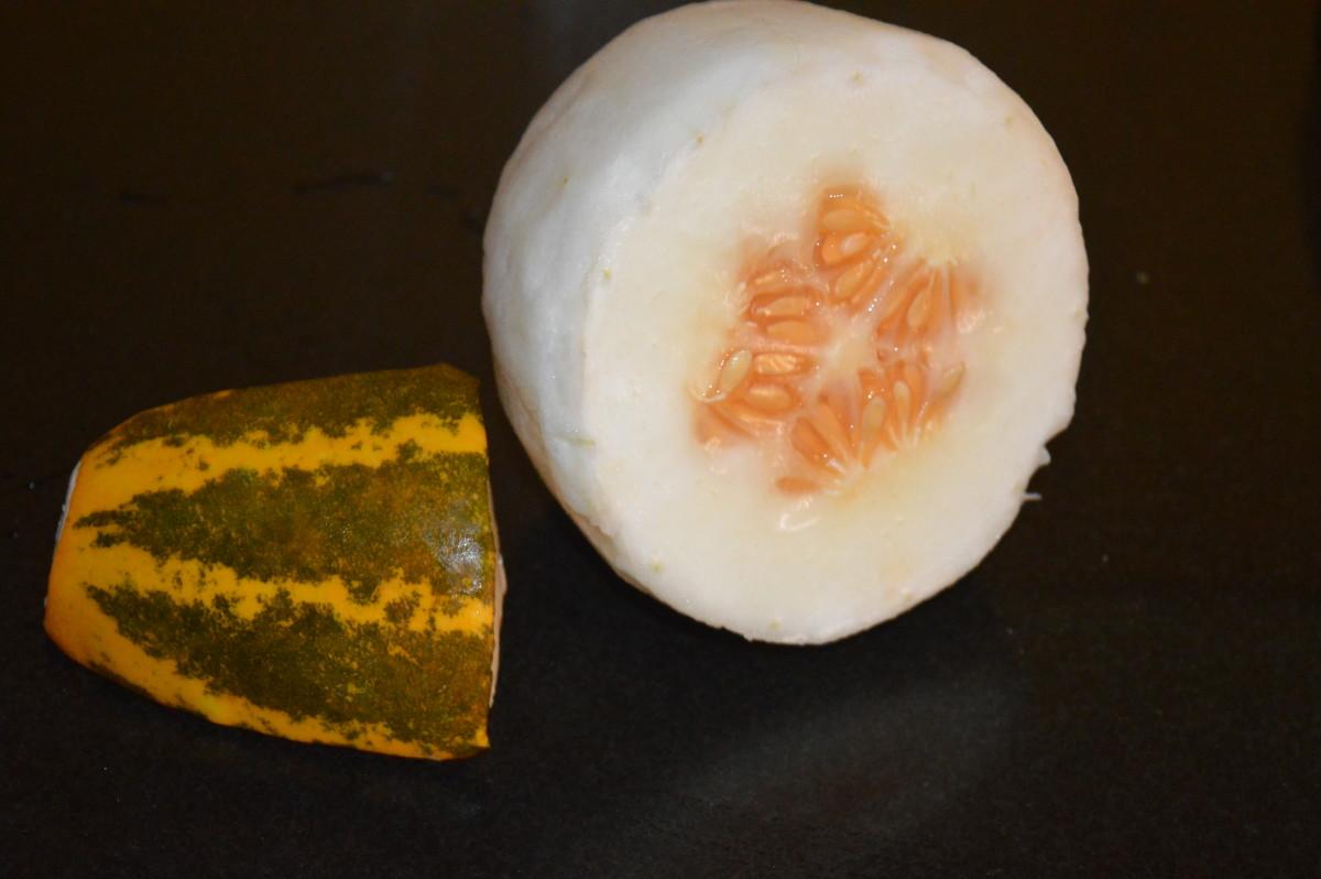 Step one: remove the skin of Mogem (madras cucumber)