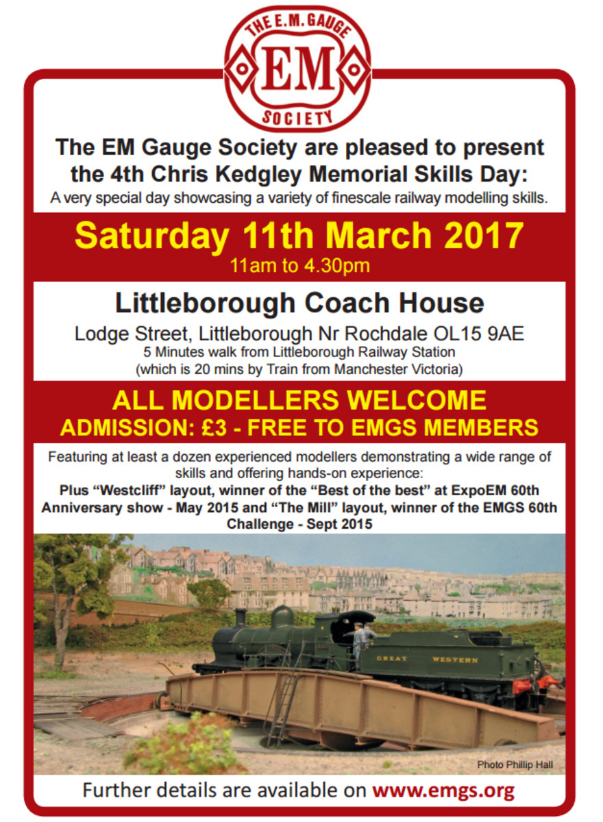 The EM Gauge Society (EMGS) produces a newsletter and holds exhibitions around the UK, to which they invite layouts from OO and S4/P4 groups