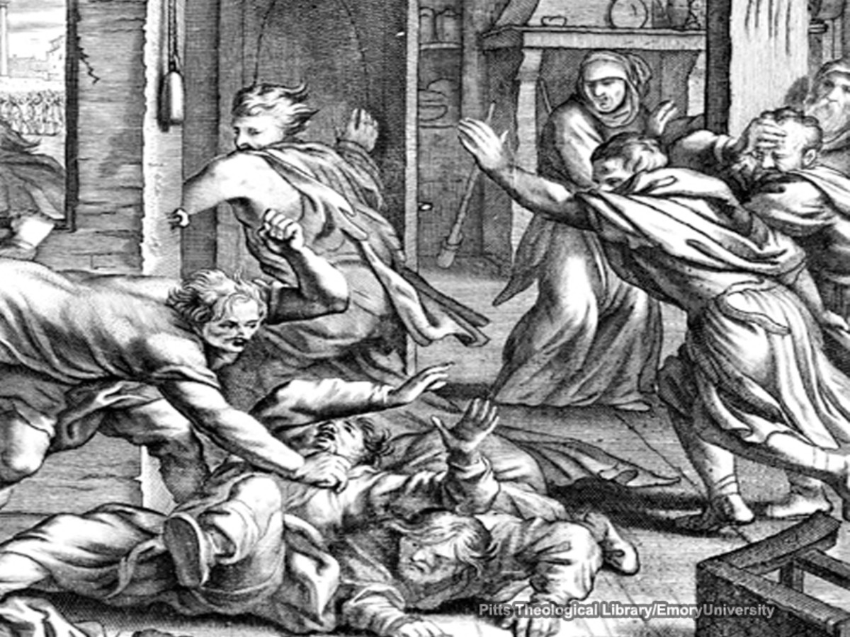 Depiction of the fight with the possessed man