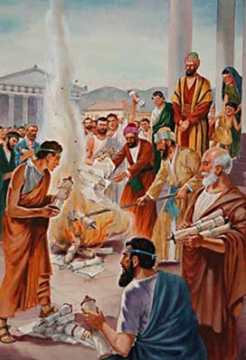 Sorcerers repent by burning their scrolls, and turning to Jesus